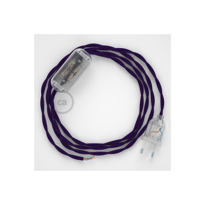 Cablaggio per lampada, cavo TM14 Effetto Seta Viola 1,80 m. Scegli il colore dell'interuttore e della spina.