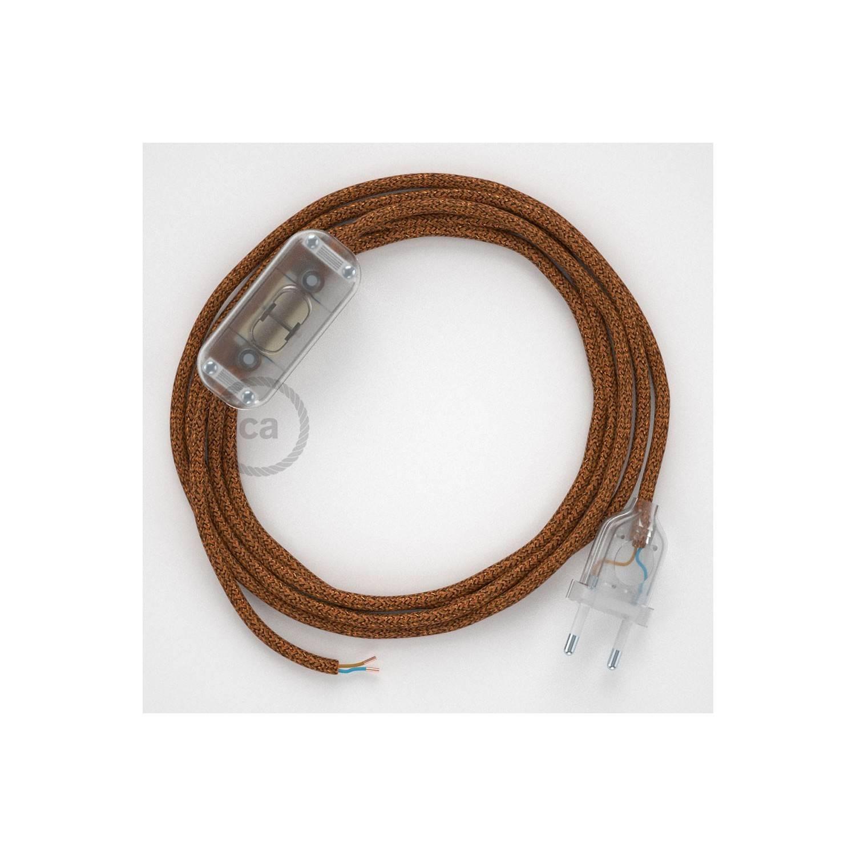 Cablaggio per lampada, cavo RL22 Effetto Seta Glitterato Rame 1,80 m. Scegli il colore dell'interuttore e della spina.