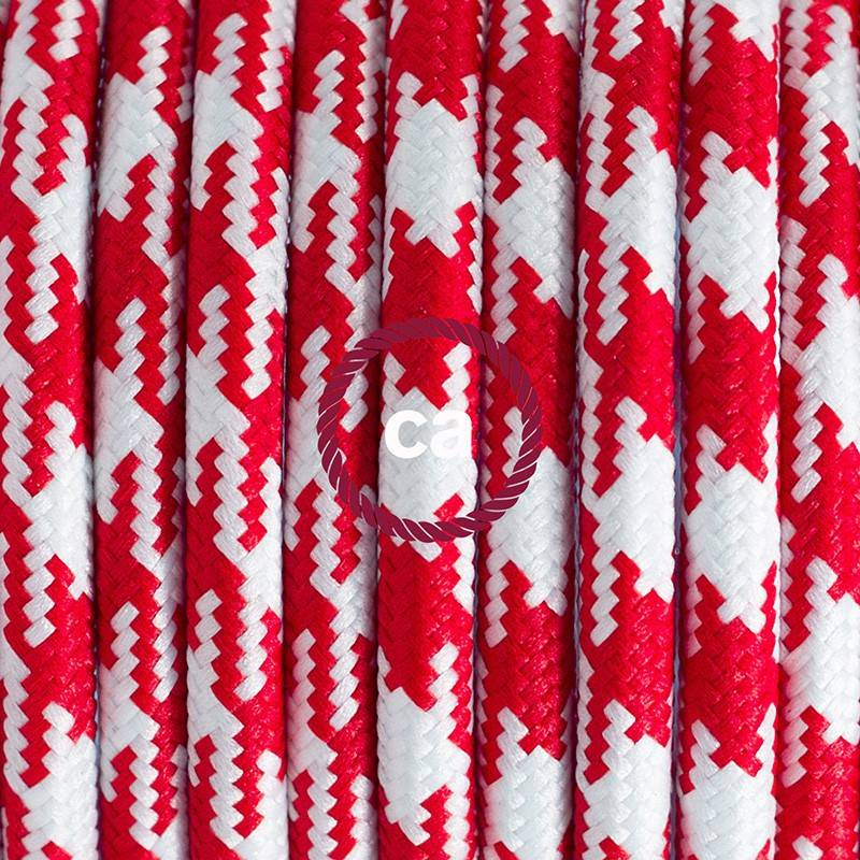 Cablaggio per lampada, cavo RP09 Effetto Seta Bicolore Rosso 1,80 m. Scegli il colore dell'interuttore e della spina.