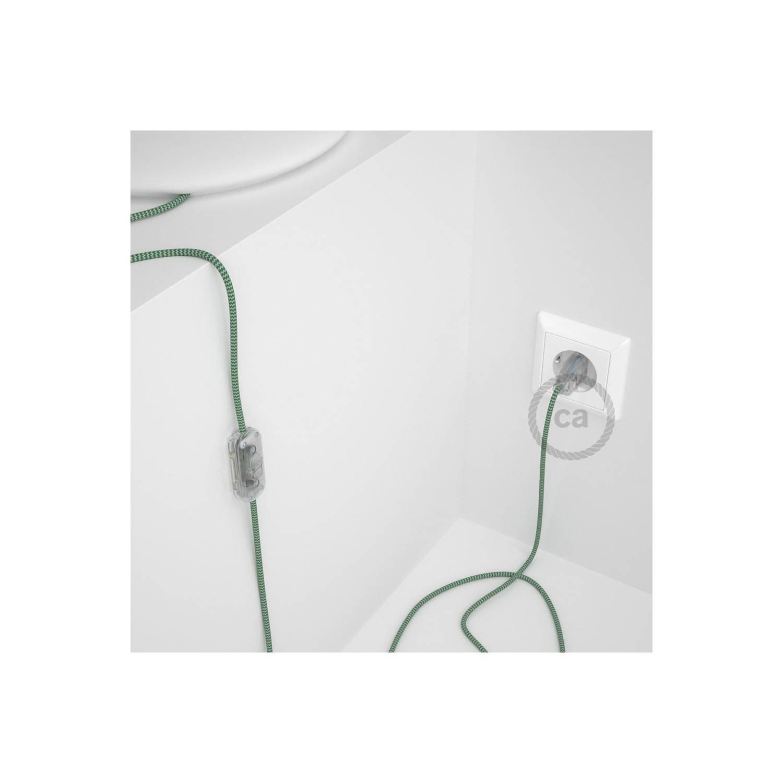 Cablaggio per lampada, cavo RZ06 Effetto Seta ZigZag Verde 1,80 m. Scegli il colore dell'interuttore e della spina.