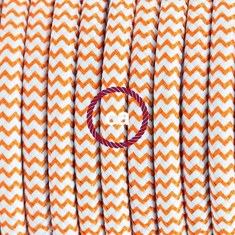 Cablaggio per lampada, cavo RZ15 Effetto Seta ZigZag Arancione 1,80 m. Scegli il colore dell'interuttore e della spina.