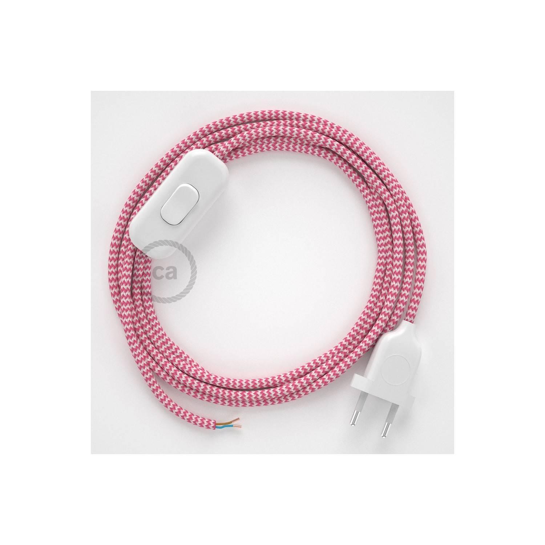 Cablaggio per lampada, cavo RZ08 Effetto Seta ZigZag Fucsia 1,80 m. Scegli il colore dell'interuttore e della spina.