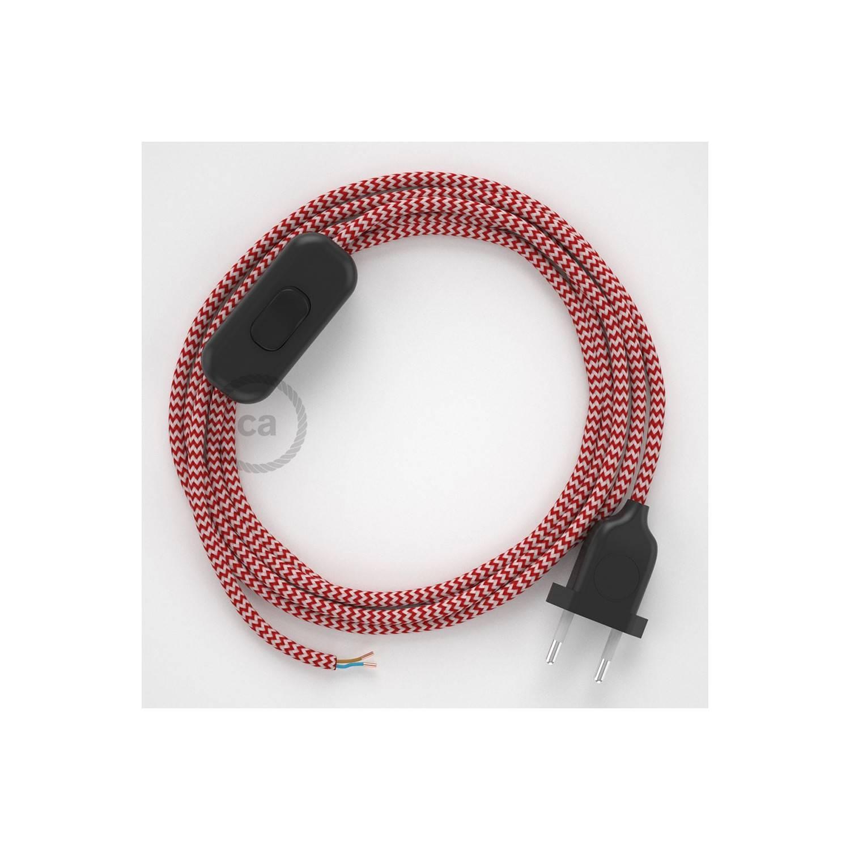 Cablaggio per lampada, cavo RZ09 Effetto Seta ZigZag Rosso 1,80 m. Scegli il colore dell'interuttore e della spina.