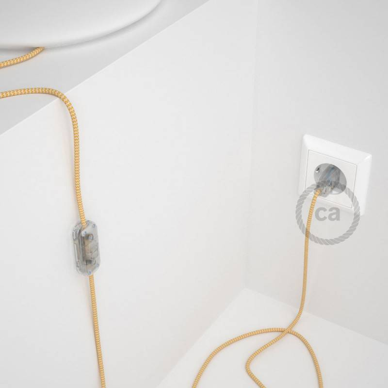 Cablaggio per lampada, cavo RZ10 Effetto Seta ZigZag Giallo 1,80 m. Scegli il colore dell'interuttore e della spina.