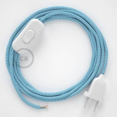 Cablaggio per lampada, cavo RZ11 Effetto Seta ZigZag Azzurro 1,80 m. Scegli il colore dell'interuttore e della spina.