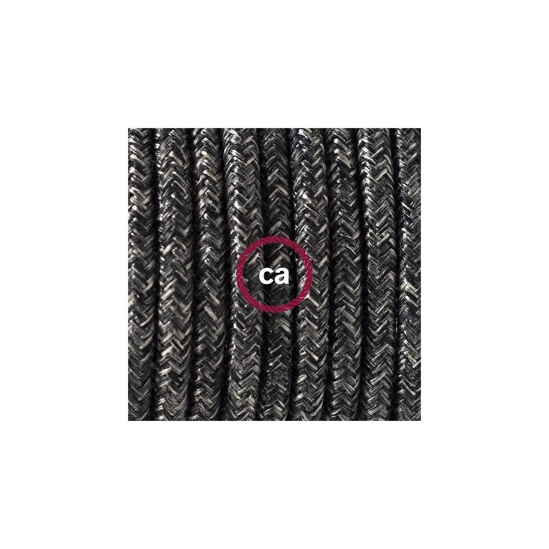 Cablaggio per lampada, cavo RN03 Lino Naturale Antracite 1,80 m. Scegli il colore dell'interuttore e della spina.
