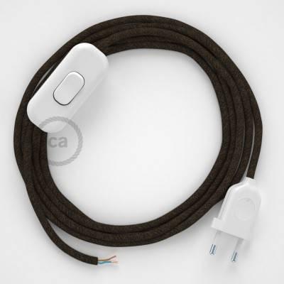 Cablaggio per lampada, cavo RN04 Lino Naturale Marrone 1,80 m. Scegli il colore dell'interuttore e della spina.
