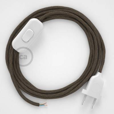 Cablaggio per lampada, cavo RD73 ZigZag Corteccia 1,80 m. Scegli il colore dell'interuttore e della spina.