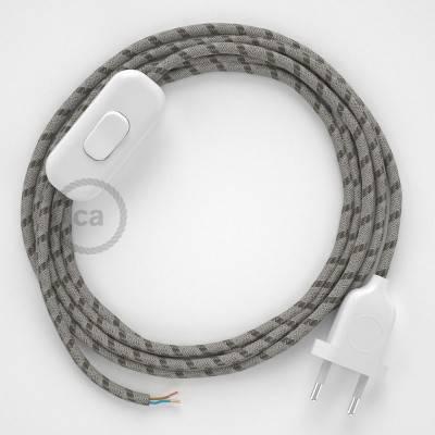 Cablaggio per lampada, cavo RD53 Stripes Corteccia 1,80 m. Scegli il colore dell'interuttore e della spina.