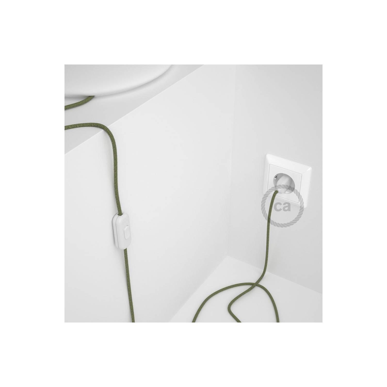 Cablaggio per lampada, cavo RD72 ZigZag Verde Timo 1,80 m. Scegli il colore dell'interuttore e della spina.