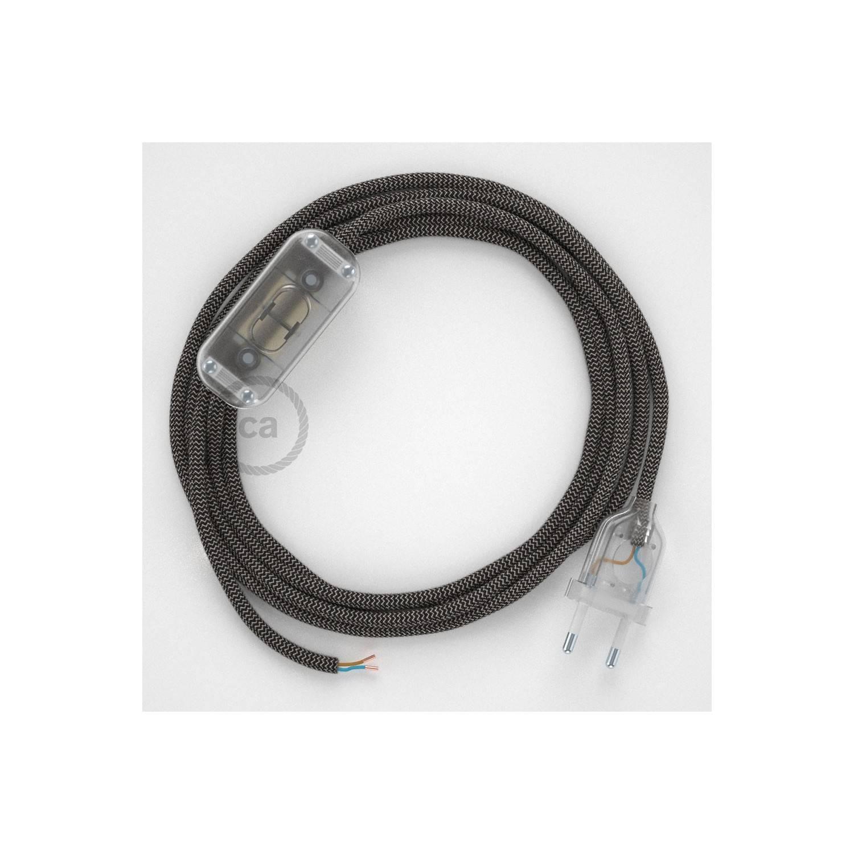 Cablaggio per lampada, cavo RD74 ZigZag Antracite 1,80 m. Scegli il colore dell'interuttore e della spina.