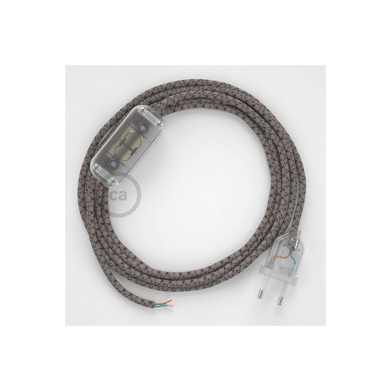 Cablaggio per lampada, cavo RD64 Losanga Antracite 1,80 m. Scegli il colore dell'interuttore e della spina.
