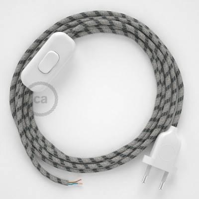 Cablaggio per lampada, cavo RD54 Stripes Antracite 1,80 m. Scegli il colore dell'interuttore e della spina.