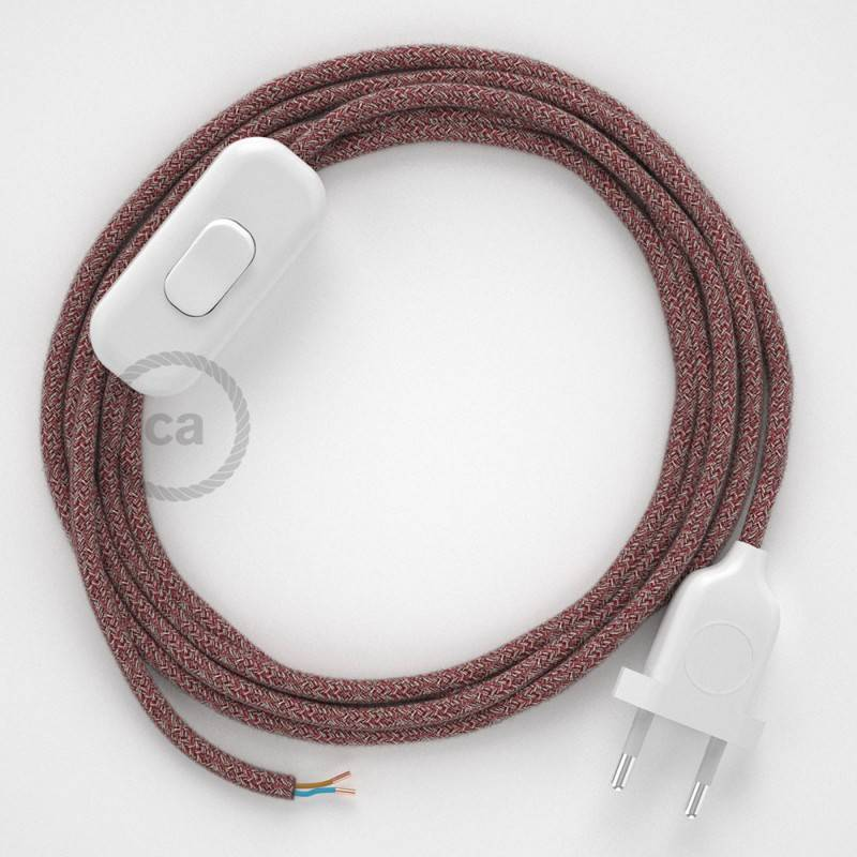 Cablaggio per lampada, cavo RS83 Cotone Glitterato Rosso 1,80 m. Scegli il colore dell'interuttore e della spina.