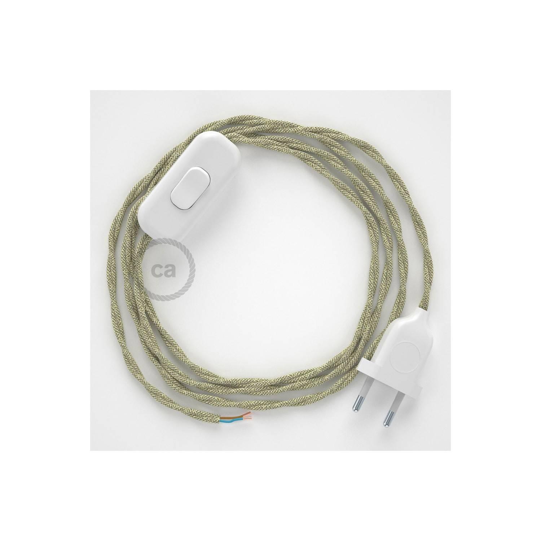 Cablaggio per lampada, cavo TN01 Lino Naturale Neutro 1,80 m. Scegli il colore dell'interuttore e della spina.