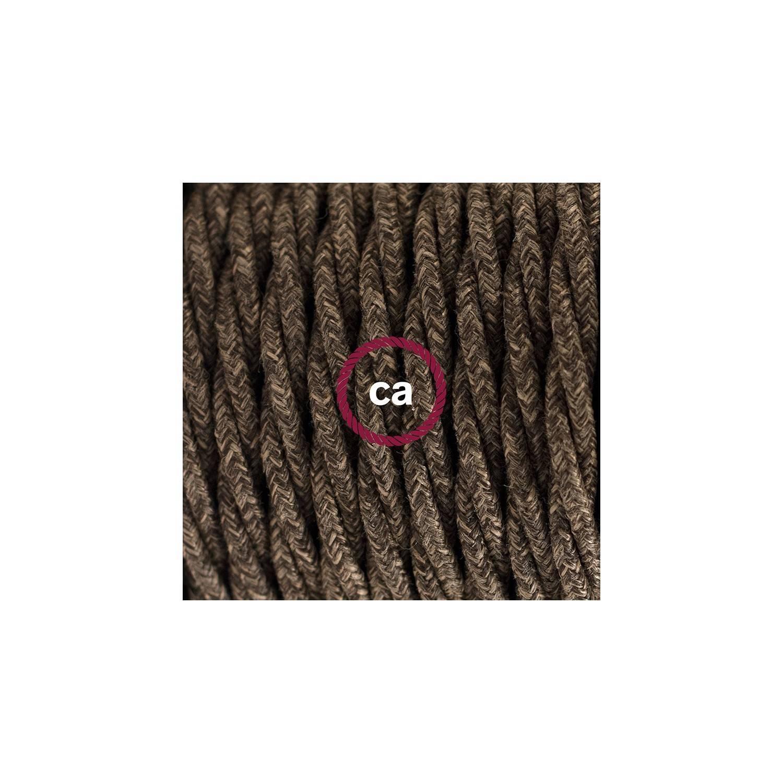 Cablaggio per lampada, cavo TN04 Lino Naturale Marrone 1,80 m. Scegli il colore dell'interuttore e della spina.