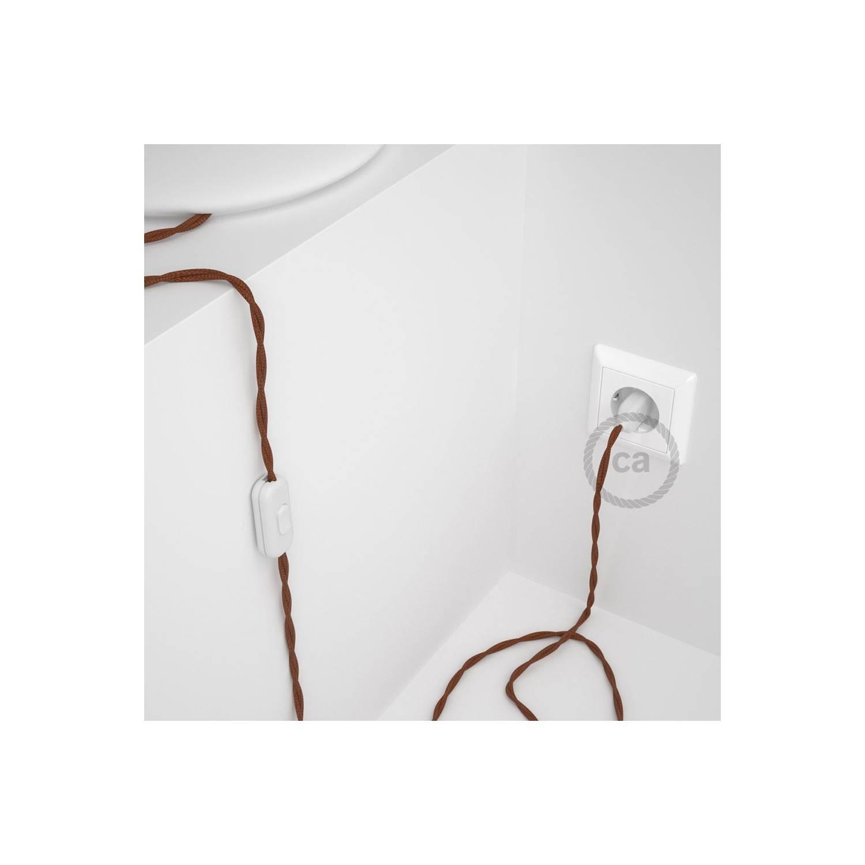 Cablaggio per lampada, cavo TC23 Cotone Daino 1,80 m. Scegli il colore dell'interuttore e della spina.