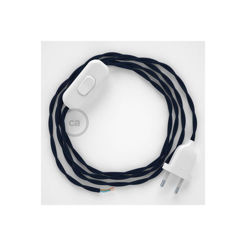 Cablaggio per lampada, cavo TM20 Effetto Seta Blu scuro 1,80 m. Scegli il colore dell'interuttore e della spina.