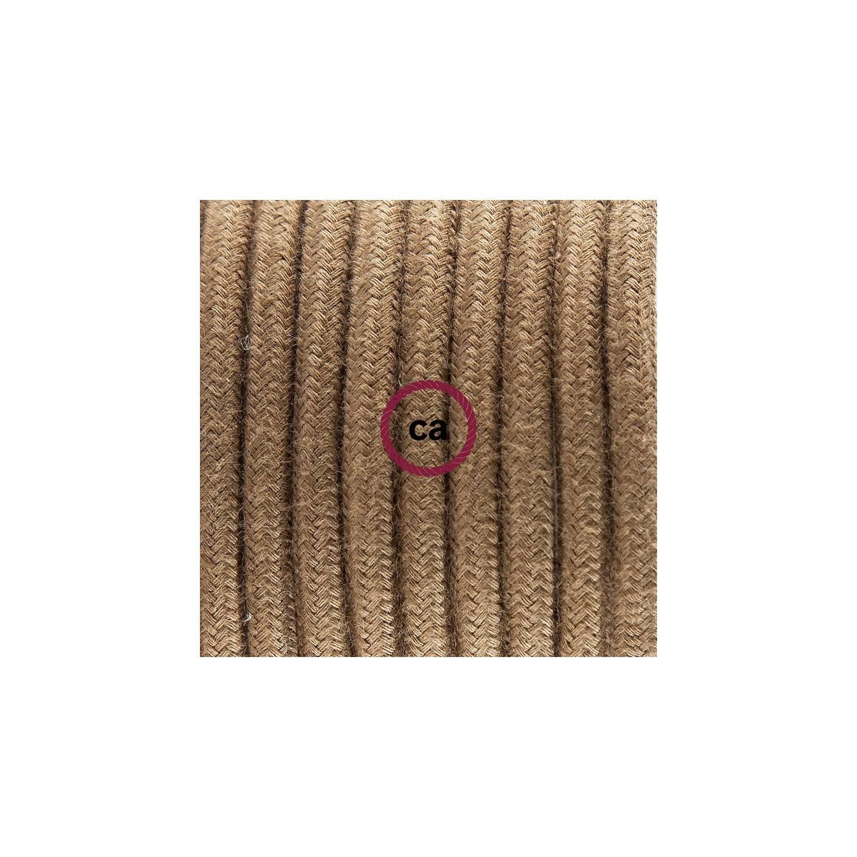 Cablaggio per lampada, cavo RC13 Cotone Marrone 1,80 m. Scegli il colore dell'interuttore e della spina.