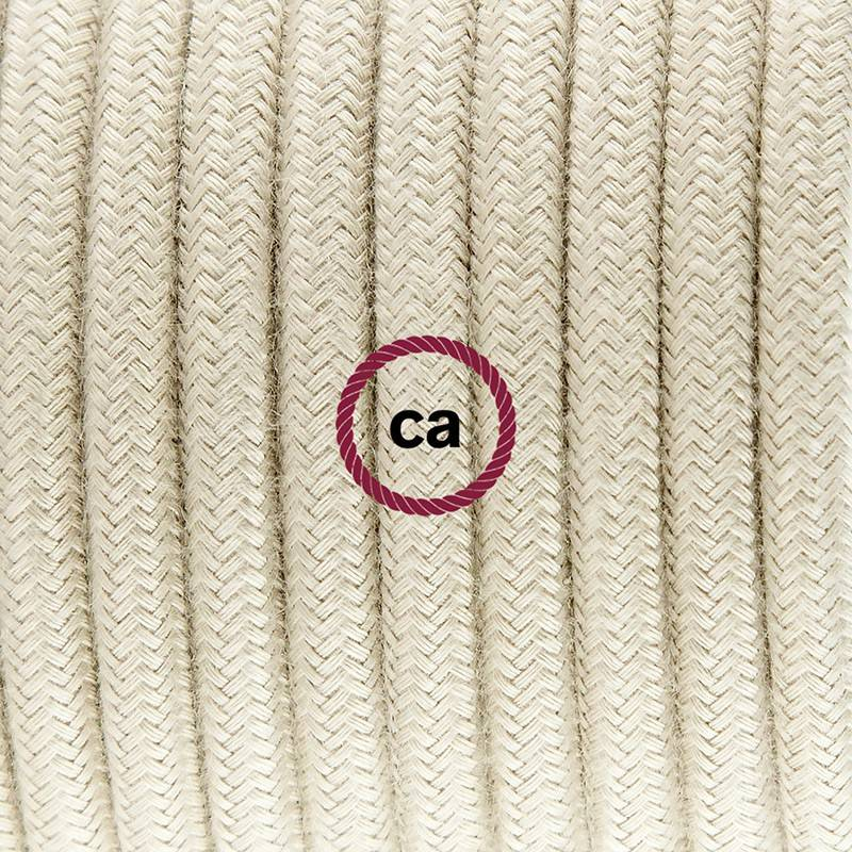 Cablaggio per lampada, cavo RC43 Cotone Tortora 1,80 m. Scegli il colore dell'interuttore e della spina.