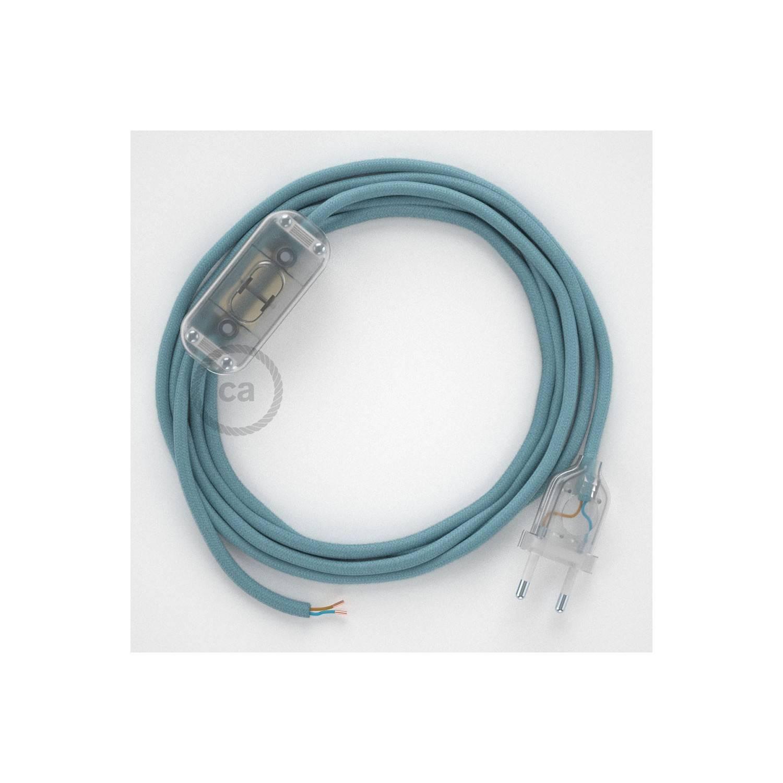 Cablaggio per lampada, cavo RC53 Cotone Oceano 1,80 m. Scegli il colore dell'interuttore e della spina.