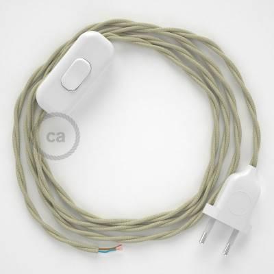 Cablaggio per lampada, cavo TC43 Cotone Tortora 1,80 m. Scegli il colore dell'interuttore e della spina.