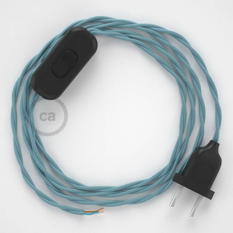 Cablaggio per lampada, cavo TC53 Cotone Oceano 1,80 m. Scegli il colore dell'interuttore e della spina.