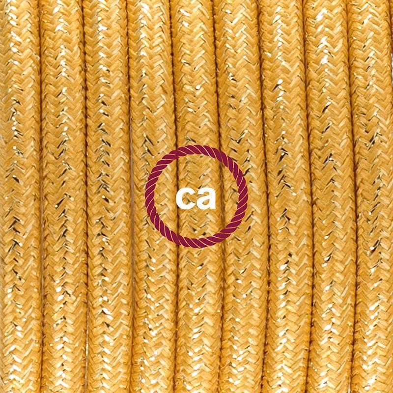 Cablaggio per lampada, cavo RL05 Effetto Seta Glitterato Oro 1,80 m. Scegli il colore dell'interuttore e della spina.