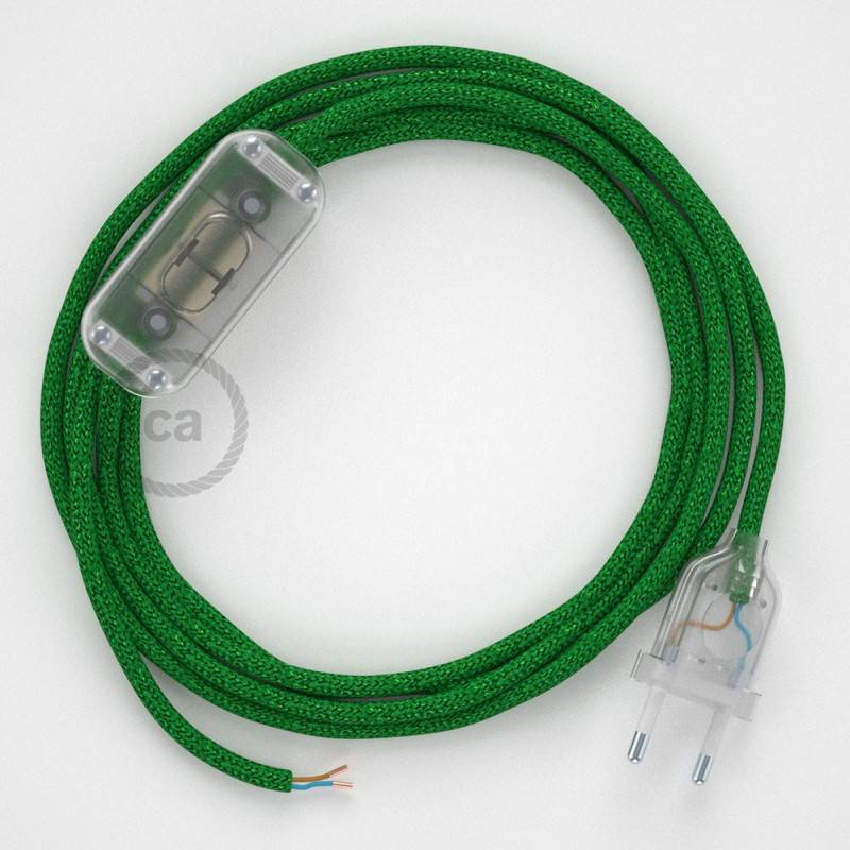 Cablaggio per lampada, cavo RL06 Effetto Seta Glitterato Verde 1,80 m. Scegli il colore dell'interuttore e della spina.