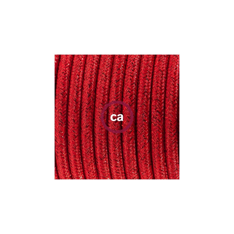 Cablaggio per lampada, cavo RL09 Effetto Seta Glitterato Rosso 1,80 m. Scegli il colore dell'interuttore e della spina.