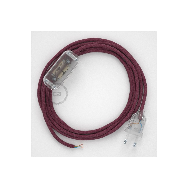 Cablaggio per lampada, cavo RC32 Cotone Vinaccia 1,80 m. Scegli il colore dell'interuttore e della spina.