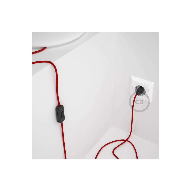 Cablaggio per lampada, cavo RC35 Cotone Rosso Fuoco 1,80 m. Scegli il colore dell'interuttore e della spina.