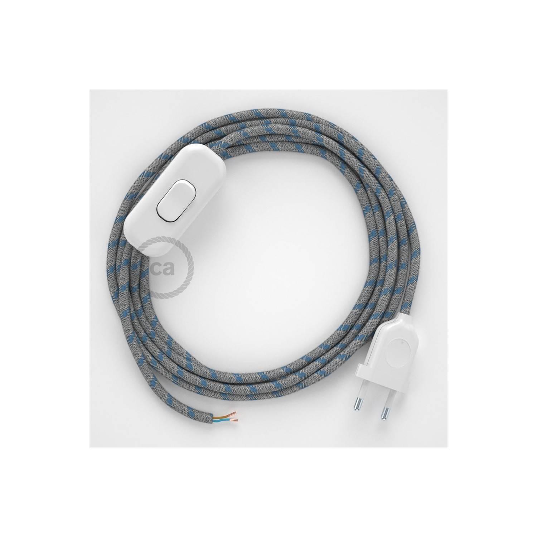 Cablaggio per lampada, cavo RD55 Stripes Blu Steward 1,80 m. Scegli il colore dell'interuttore e della spina.