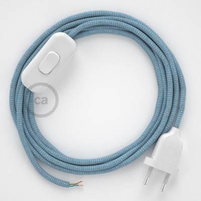 Cablaggio per lampada, cavo RD75 ZigZag Blu Steward 1,80 m. Scegli il colore dell'interuttore e della spina.