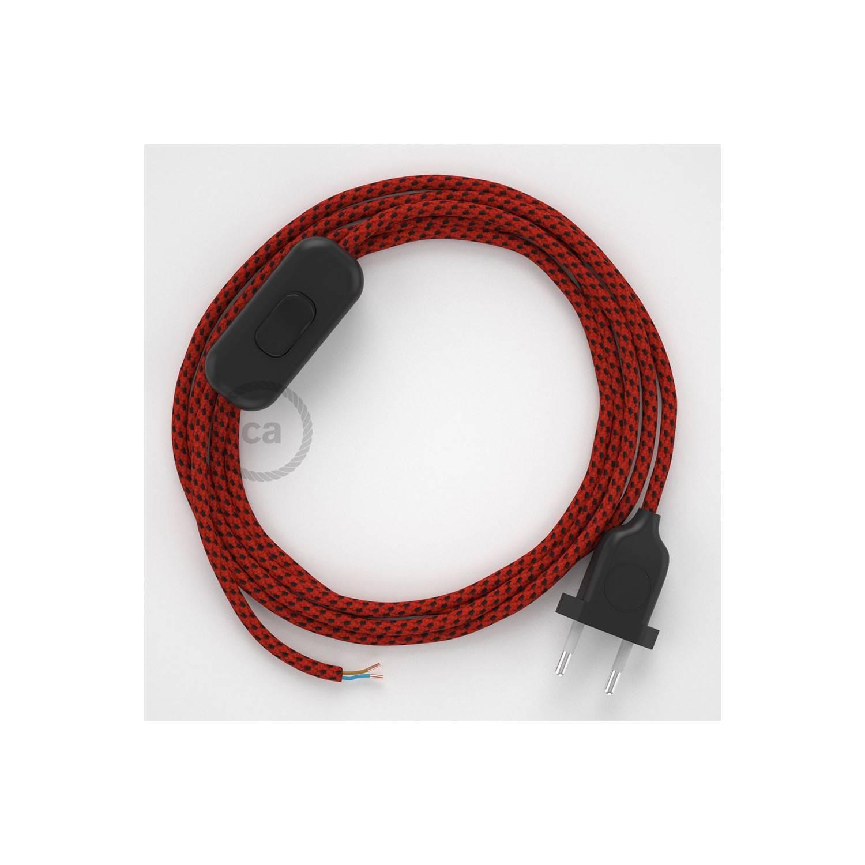 Cablaggio per lampada, cavo RT94 Effetto Seta Red Devil 1,80 m. Scegli il colore dell'interuttore e della spina.