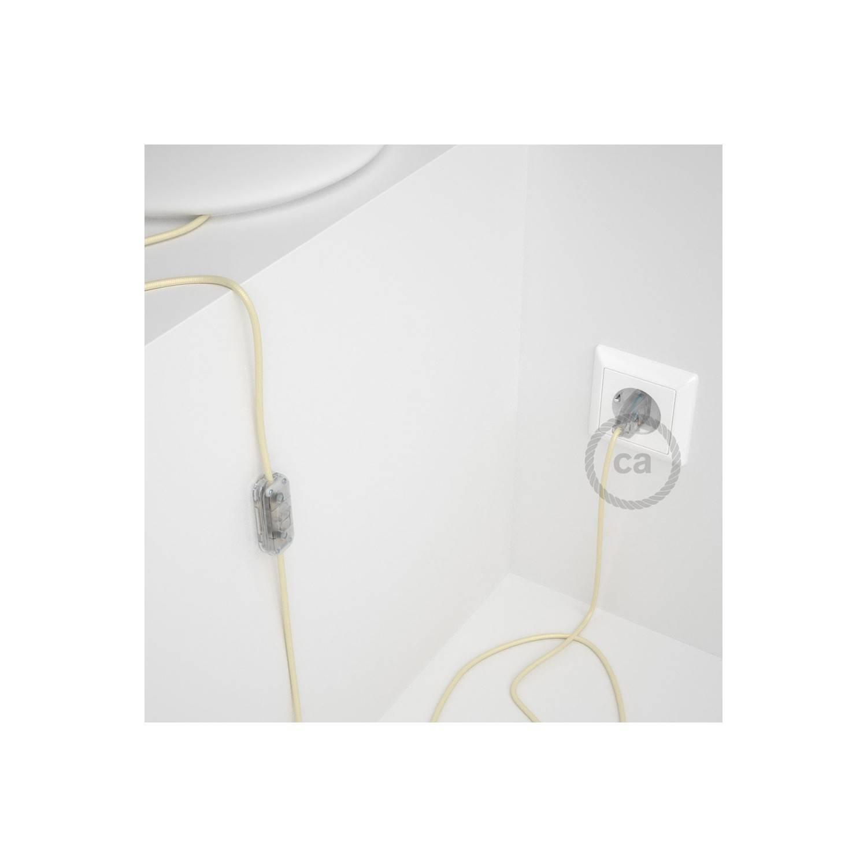 Cablaggio per lampada, cavo RM00 Effetto Seta Avorio 1,80 m. Scegli il colore dell'interuttore e della spina.