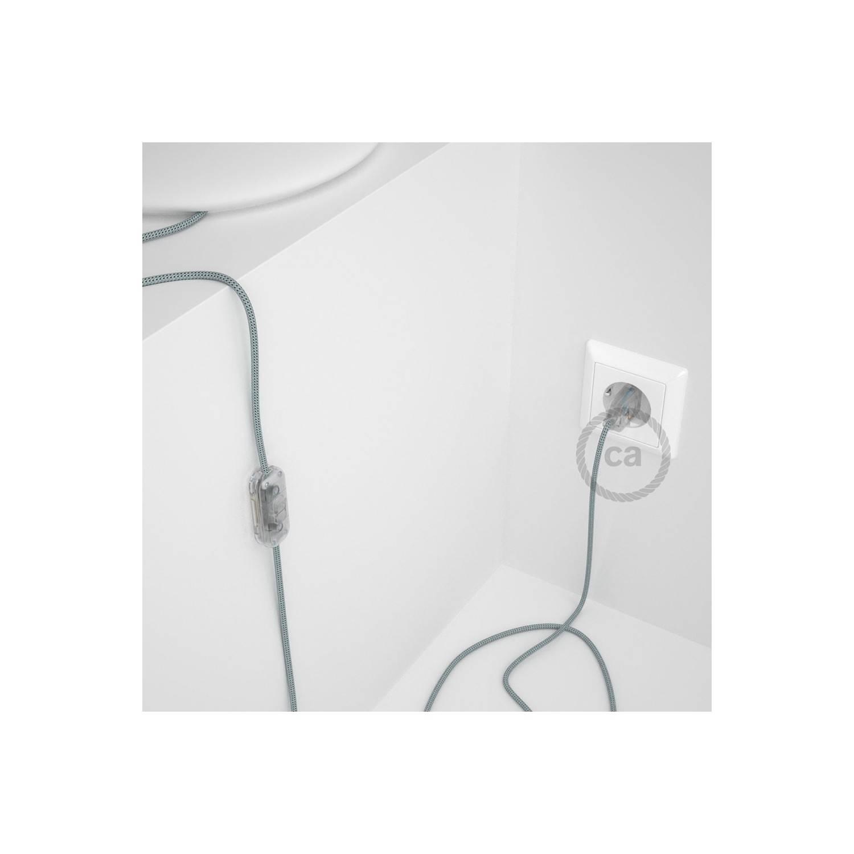 Cablaggio per lampada, cavo RT14 Effetto Seta Stracciatella 1,80 m. Scegli il colore dell'interuttore e della spina.