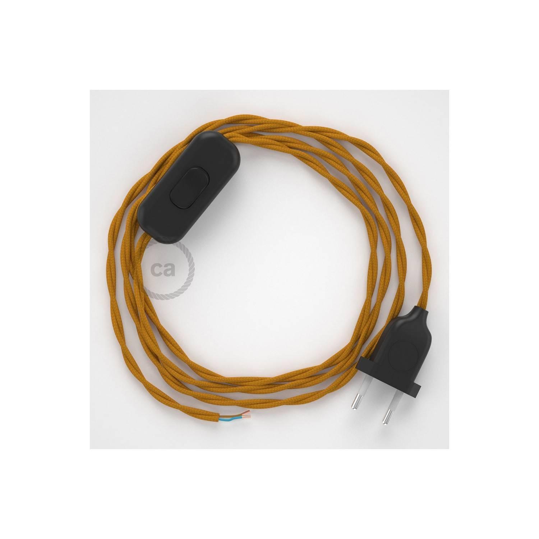 Cablaggio per lampada, cavo TM25 Effetto Seta Senape 1,80 m. Scegli il colore dell'interuttore e della spina.