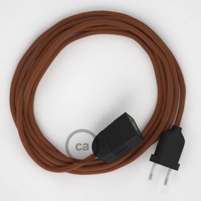 Prolunga elettrica con cavo tessile RC23 Cotone Daino 2P 10A Made in Italy.