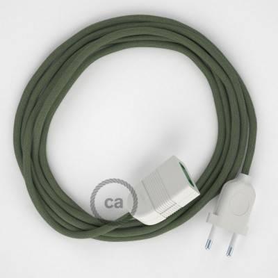 Prolunga elettrica con cavo tessile RC63 Cotone Verde Grigio 2P 10A Made in Italy.
