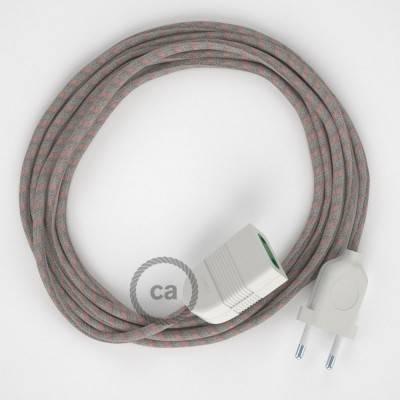 Prolunga elettrica con cavo tessile RD51 Cotone e Lino Naturale Stripes Rosa Antico 2P 10A Made in Italy.