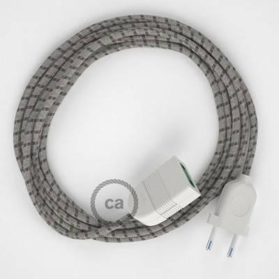 Prolunga elettrica con cavo tessile RD53 Cotone e Lino Naturale Stripes Corteccia 2P 10A Made in Italy.