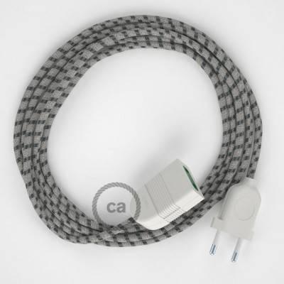 Prolunga elettrica con cavo tessile RD54 Cotone e Lino Naturale Stripes Antracite 2P 10A Made in Italy.