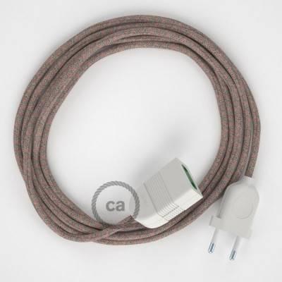 Prolunga elettrica con cavo tessile RD61 Cotone e Lino Naturale Losanga Rosa Antico 2P 10A Made in Italy.
