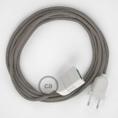 Prolunga elettrica con cavo tessile RD62 Cotone e Lino Naturale Losanga Verde Timo 2P 10A Made in Italy.