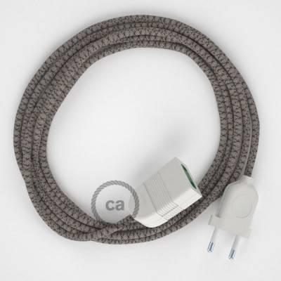 Prolunga elettrica con cavo tessile RD64 Cotone e Lino Naturale Losanga Antracite 2P 10A Made in Italy.