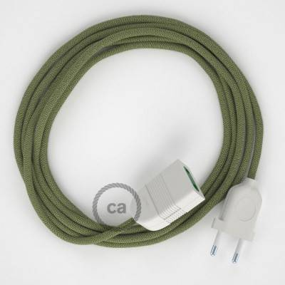 Prolunga elettrica con cavo tessile RD72 Cotone e Lino Naturale ZigZag Verde Timo 2P 10A Made in Italy.