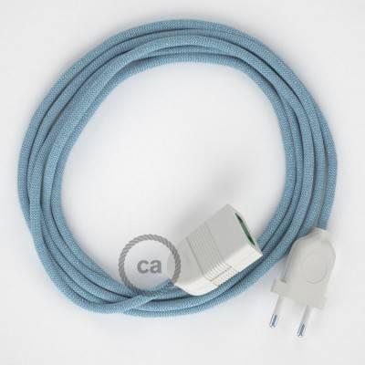 Prolunga elettrica con cavo tessile RD75 Cotone e Lino Naturale ZigZag Blu Steward 2P 10A Made in Italy.