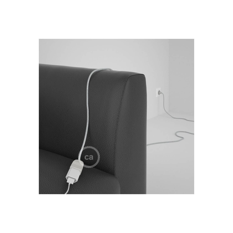 Prolunga elettrica con cavo tessile RL01 Effetto Seta Glitterato Bianco 2P 10A Made in Italy.
