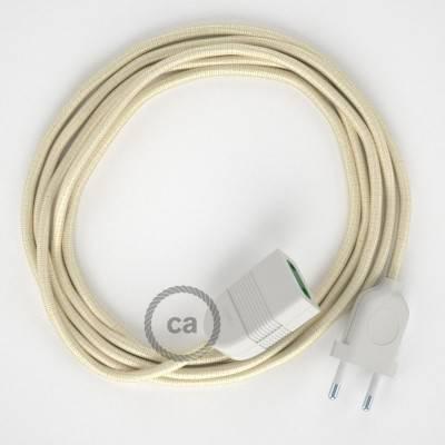 Prolunga elettrica con cavo tessile RM00 Effetto Seta Avorio 2P 10A Made in Italy.
